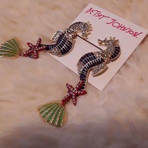 🦑New Betsey Johnson Sea Horse Earrings!🐚
